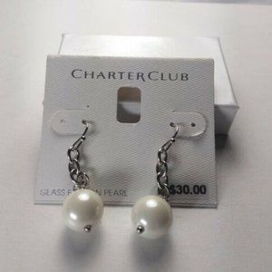Charter Club Silver Crystal and Pearl Drop Dangle